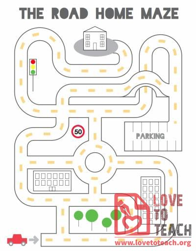 Road Home Maze Lovetoteach Org Free Printable Worksheets